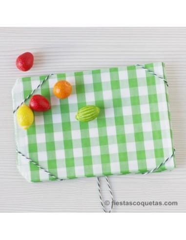 Bolsas papel cuadros verdes / 12 uds.