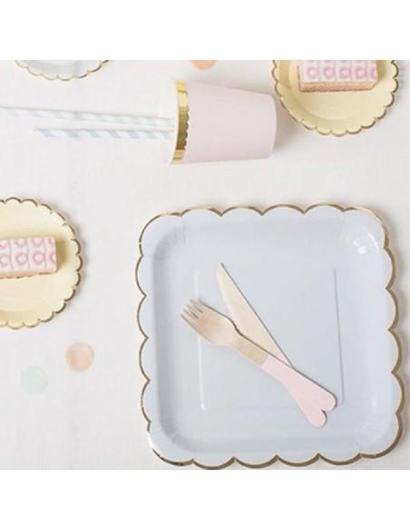 Platos de cartón Mix Pastel Dorado