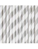 Pajitas de papel rayas gris / 12 uds.
