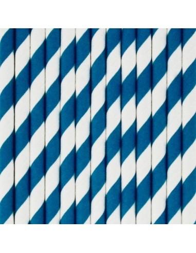 Pajitas de papel rayas azul marino / 12 uds.