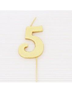 Vela Número Cinco Dorada