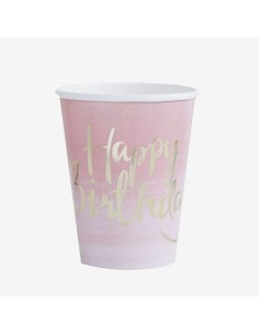 Vasos de papel rosa Happy Birthday