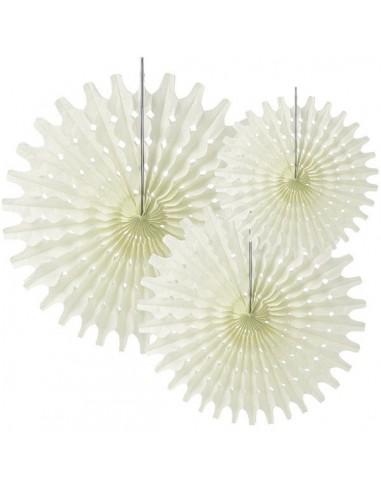 3 Abanicos de papel de seda troquelados Vainilla