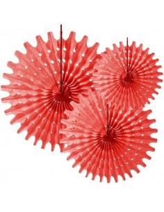 3 Abanicos de papel de seda troquelados Rojos