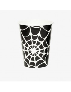 Vasos de papel tela de araña Halloween