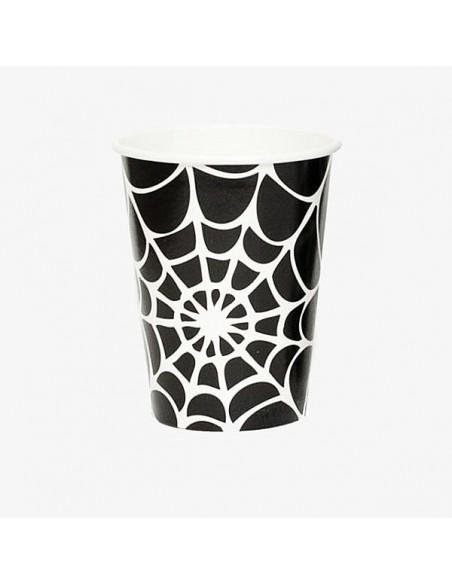 Vasos de papel tela de araña Halloween