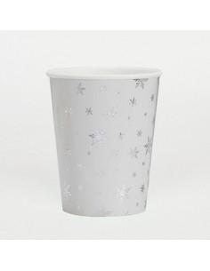Vasos de papel copos nieve plateados