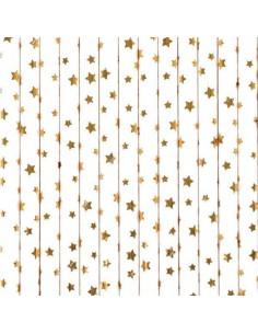 Pajitas de papel estrellas doradas / 12 uds.