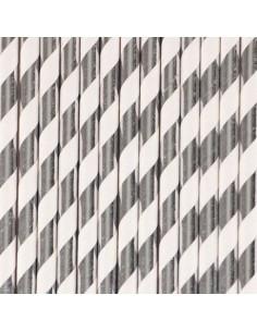 Pajitas de papel rayas plateadas / 12 uds.
