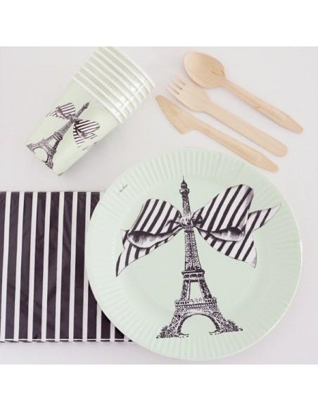 Platos de cartón Paris Chic verde mint