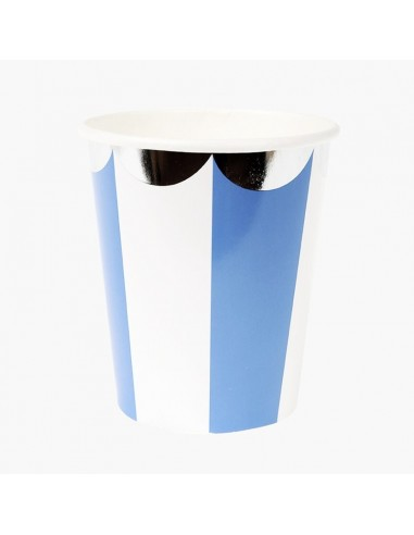 Vasos a Rayas Azul / 8 uds