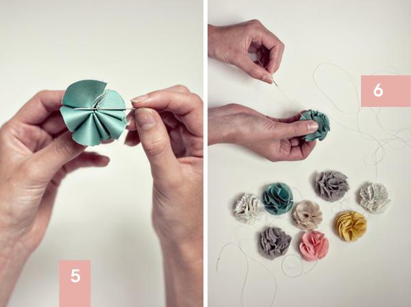 Tutorial para crear guirnaldas de flores de tela.