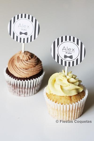 cupcakes decorados con pajaritas