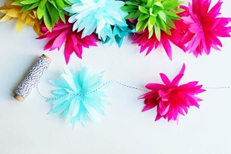 Cómo hacer una guirnalda de flores de papel