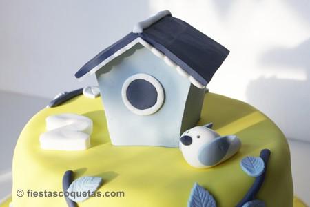 Tarta de fondant casita de pájaro