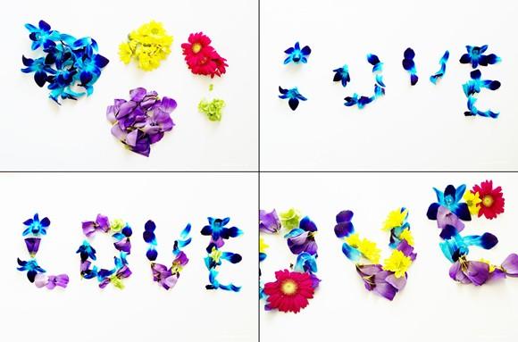 Letrero de flores naturales