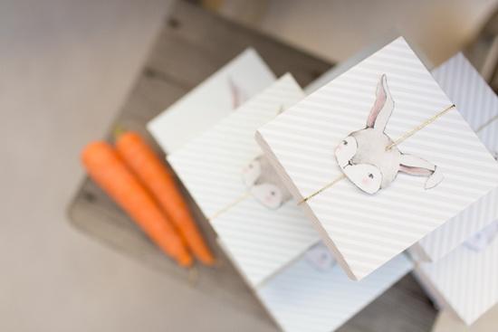 Cajitas decoradas con ilustración de conejito