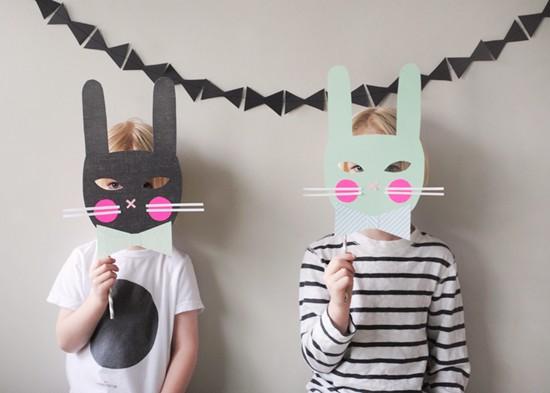 Máscara conejito de papel para carnaval