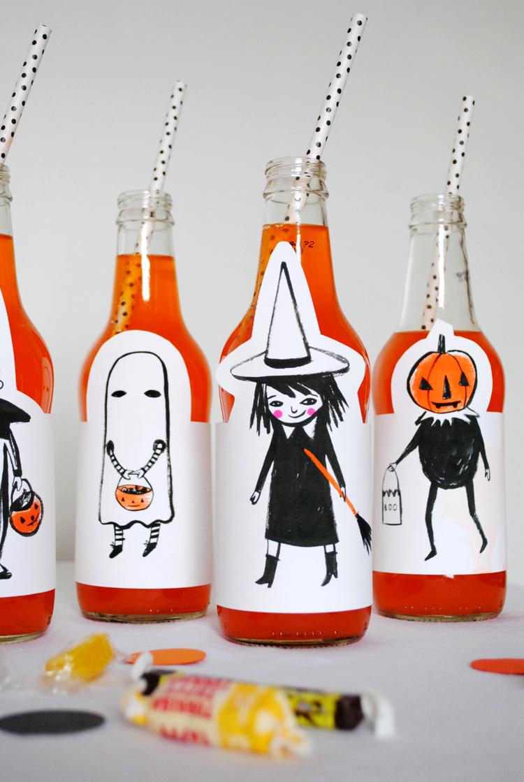 Etiquetas botellas para halloween