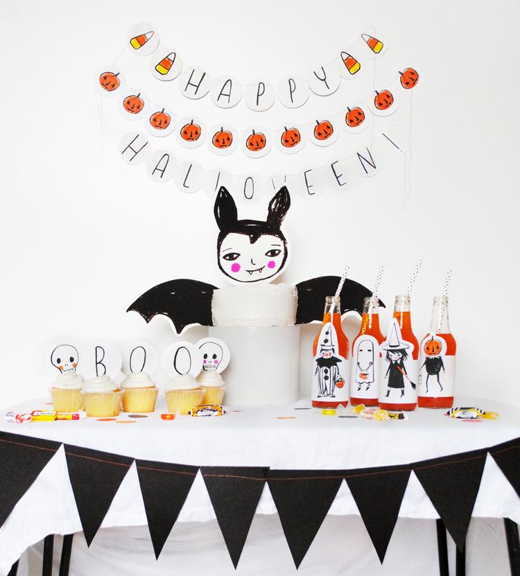 Decoración y mesa dulce de halloween