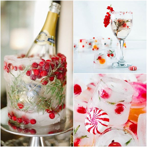 decorar cubitos de hielo para navidad