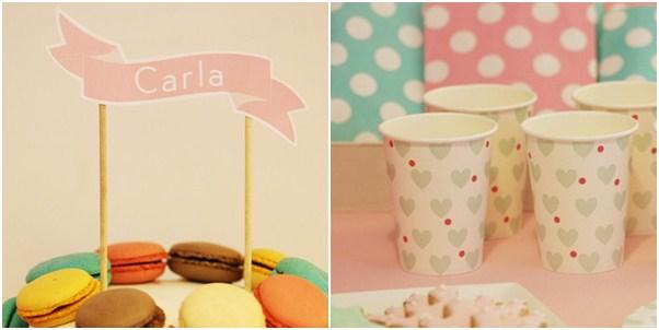 Detalle fiesta princesas, tarta y vasos