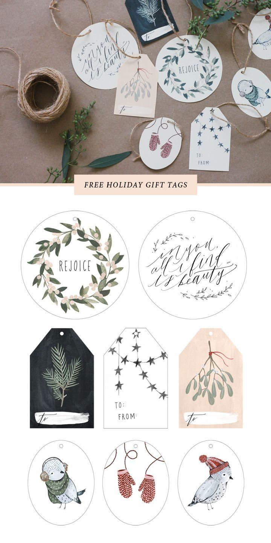 Imprimibles gratuítos para Navidad. Targetas para regalos.