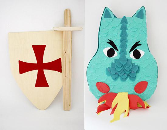 Piñata, espadas y escudos de madera