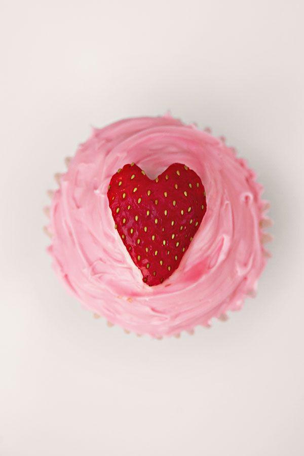 Cupcakes con corazón para san valentín