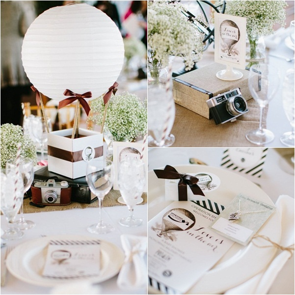 Decoración de las mesas para una comunión vintage
