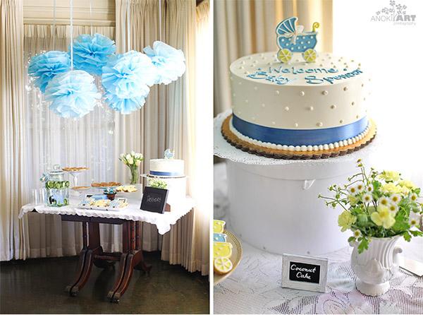 Cómo decorar una mesa dulce de bautizo en blanco y azul