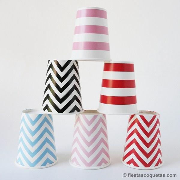 vasos carton chevron y rayas