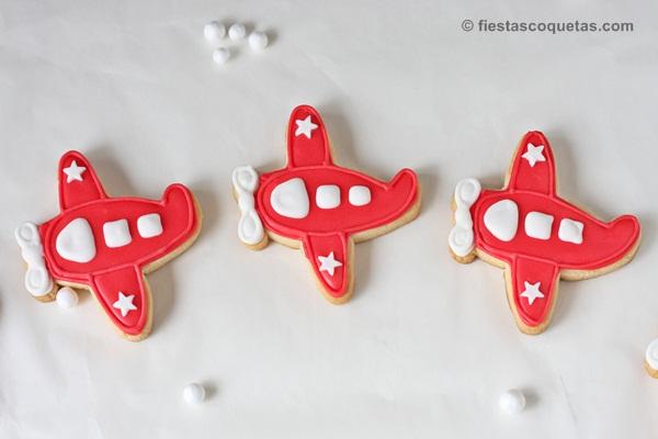 Galletas decoradas con forma de avión