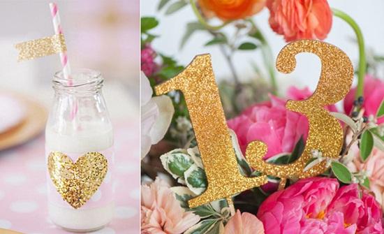 detalles en dorado para decorar fiestas