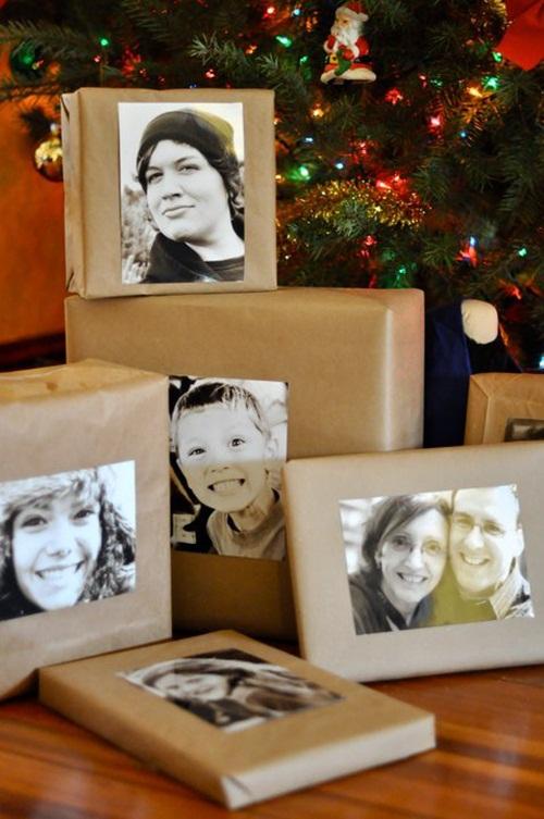 Envolver regalos con papel kraft y fotos