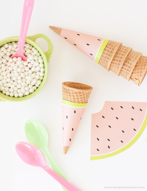 Imprimible conos de papel sandía