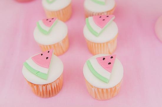 cupcakes decorados con sandía