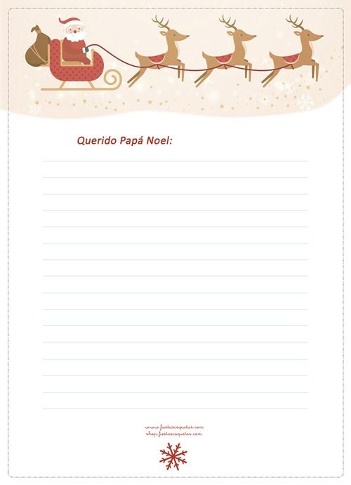 Carta a Papá Noel imprimible gratuíto